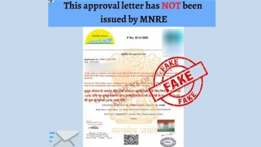 Govt Asking for Legal Charge of Rs 5,600 To Install Solar Pump Under KUSUM Yojana? PIB Fact Check Reveals Truth Behind Fake Approval Letter