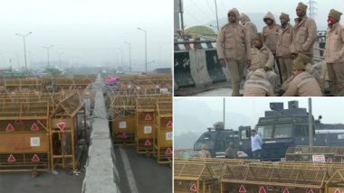 Chakka Jam: Security Tightened in Parts of Delhi, Extensive Barricading Seen at Ghazipur Border; Heavy Deployment of Police at Red Fort As Preventive Measure