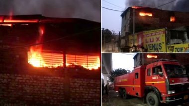 Delhi Fire: 1 Dead After Massive Blaze Engulfs Factory in Pratap Nagar, 28 Fire Tenders Working at Site To Douse Blaze