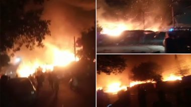 Delhi Fire: Massive Blaze Engulfs Sanjay Colony in Okhla Phase II Area, 27 Fire Tenders Pressed Into Service; Firefighting Operations Underway