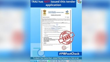 TRAI Providing Tender Application to a Company To Collect Rs 12,500 for Installation of LTE Mobile Towers? PIB Fact Check Reveals Truth Behind Fake News