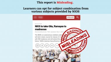 NIOS to Take Gita, Ramayan to Madrassas Under New Education Policy? PIB Reveals the Truth Behind Misleading News Report