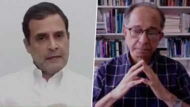Rahul Gandhi Lashes Out at BJP Government at Centre During His Interaction With Prof Kaushik Basu of Cornell University (Watch Video)