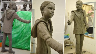 Greta Thunberg's Life-Size Statue Erected at Winchester University to Inspire Students, See Pics of 'Make a Difference' Bronze Artwork
