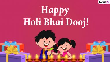 Happy Holi Bhai Dooj 2021 Greetings, Wishes & HD Images: Send WhatsApp Stickers, Facebook GIFs, Telegram Messages, Signal Quotes, Instagram Status, Photos & Wallpapers to Celebrate the Love Between Brothers & Sisters