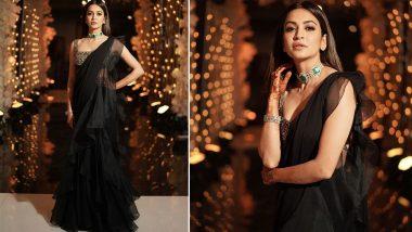 Yo or Hell No? Kriti Kharbanda's Black Ruffled Saree by Ridhi Mehra