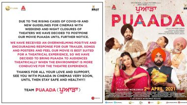 Puaada: Ammy Virk and Sonam Bajwa-Starrer Punjabi Rom-Com Theatrical Release Date Postponed Due to Rise of COVID-19 Cases