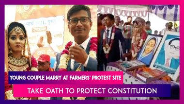 Young Couple Marry At Farmers' Protest Site In Rewa, Madhya Pradesh, Take Oath To Protect Constitution