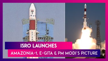 ISRO Launches Amazonia-1  & 18 Other Satellites Aboard PSLV-C51 Along With E-Gita, PM Modi's Picture