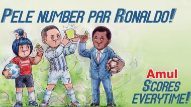 Amul Congratulates Cristiano Ronaldo with Special Caricature as Juventus Star Surpasses Pele's Tally of Most Goals
