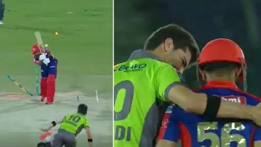 Shaheen Afridi Gives Babar Azam Warm Hug After Shattering His Stumps During Karachi Kings vs Lahore Qalandars Match in PSL 2021 (Watch Video)
