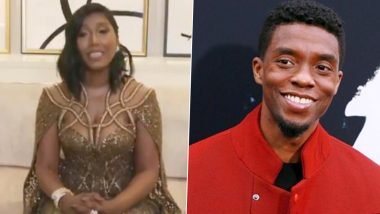 Golden Globes 2021: Chadwick Boseman's Wife Taylor Simone Ledward Gives A Teary Acceptance Speech After The Late Actor's Best Actor Win, Says 'I Don't Have His Words' (Watch Video)