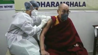 Dalai Lama Takes First Shot of COVID-19 Vaccine at Zonal Hospital in Dharamshala (Watch Video)