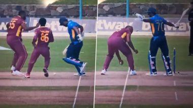 Danushka Gunathilaka Given Out for Obstructing the Field During WI vs SL 1st ODI Match, Sri Lanka Batsman's Dismissal Sparks Controversy (Watch Video)