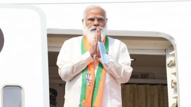 West Bengal Assembly Elections 2021: PM Narendra Modi Reaches Kolkata, to Address Rally at Brigade Parade Ground