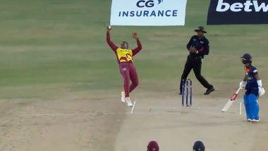Fabien Allen Takes Stunning One-Handed Catch to Dismiss Danushka Gunathilaka During WI vs SL 3rd T20I 2021 (Watch Video)