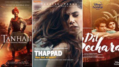 Filmfare Awards 2021 Technical and Short Film Winners: Ajay Devgn's Tanhaji, Taapsee Pannu's Thappad, Sushant Singh Rajput's Dil Bechara Score Wins (See Full List)