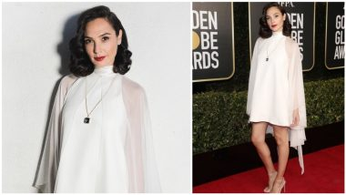 Gal Gadot Looks Like a Vision in White Givenchy Dress with Tiffany & Co. Blue Book Pendant Necklace for Golden Globes 2021