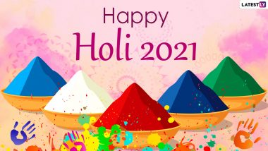 Happy Holi 2021 in Advance Wishes and WhatsApp Stickers: Chhoti Holi Messages, Holika Dahan Facebook Greetings, Signal HD Images & Telegram GIFs to Celebrate the Festival of Colours