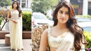 Janhvi Kapoor in a Manish Malhotra Ivory Chiffon Saree for Roohi Promotions Is Elegance Personified (View Pics)