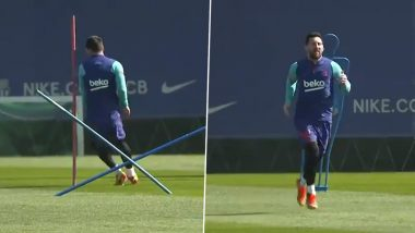 Lionel Messi Focused in Training Ahead of Barcelona's La Liga Match Against Huesca (Watch Video)