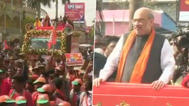 West Bengal Assembly Elections 2021: Amit Shah Holds Roadshow in Debra (Watch Video)