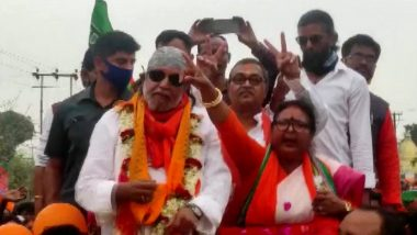 West Bengal Assembly Elections 2021: Mithun Chakraborty Holds Roadshow in Coochbehar's Tufanganj (See Pictures)