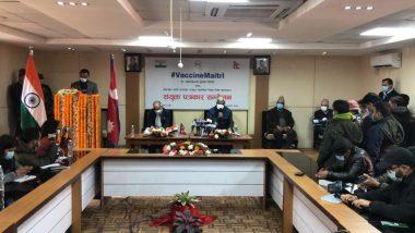 Nepal Parliamentarians Take First Shot of Made-in-India COVID-19 Vaccine at Minbhawan Based Civil Hospital in Kathmandu
