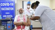 PM Narendra Modi Takes First Dose of COVID-19 Vaccine at AIIMS in Delhi, Sister P Niveda From Puducherry Administers Covaxin to the Prime Minister (Watch Video)