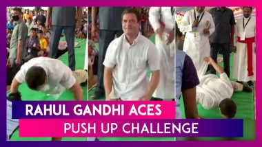 Rahul Gandhi's Push-Up Challenge: Congress Leader Stuns With One Hand Push Up, Watch