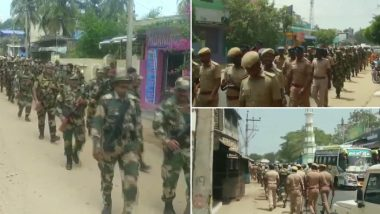 Tamil Nadu Assembly Elections 2021: Security Personnel Conduct Flag March in Mandapam and Thangachimadam Areas of Ramanathapuram District