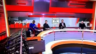 ESPN Journalist Escapes Without Any Major Injury After TV Set Collapses on Him During Live Show (Watch Video)