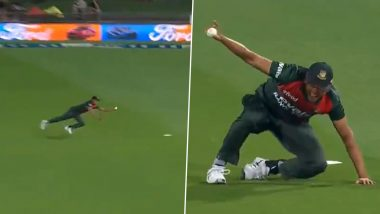 Taskin Ahmed Takes Stunning One-Handed Catch to Dismiss Martin Guptill During New Zealand vs Bangladesh 2nd T20I 2021 (Watch Video)
