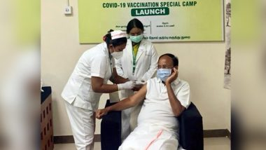COVID-19 Vaccination Drive: Vice President M Venkaiah Naidu Gets First Jab of Vaccine in Chennai