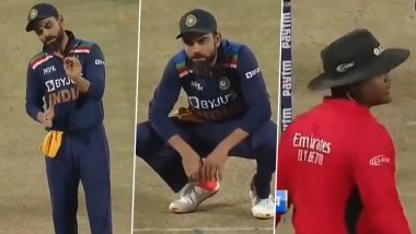 Virat Kohli Ignored by Umpire Nitin Menon After Indian Captain Tried to Discuss Ben Stokes' Controversial Run-Out Call (Watch Video)