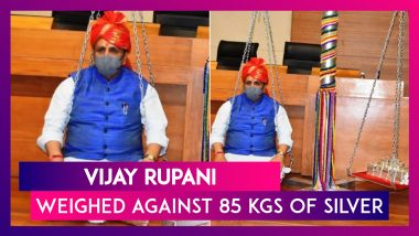 Vijay Rupani, Gujarat Chief Minister Weighed Against 85 kgs Of Silver In Cow Welfare Measure
