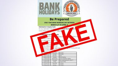 Bank Holidays To Affect Transactions Between March 27 to April 4, 2021? Fake News Claiming Banks Would Work Just 1 Day During the 9 Days Goes Viral