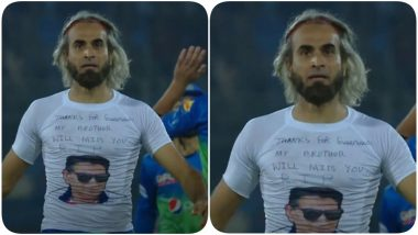 Imran Tahir Pays Tribute to Former Pakistani Coach & Cricketer Tahir Mughal During PSL 2021 Match (Watch Video)