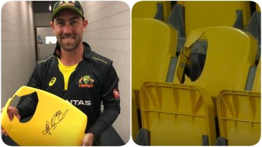 Glenn Maxwell Breaks a Seat With his Six During NZ vs AUS, 3rd T20I 2021; Broken Seat to Be Auctioned!