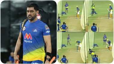 MS Dhoni Seen Sweating It Out in the Nets Ahead of IPL 2021, Karn Sharma Reaches Chennai for CSK Camp (See Pics)