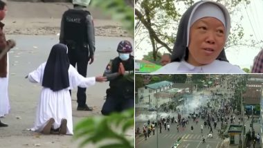 Myanmar Coup: Nun Kneels Down in Front of Military Personnel Asking to Spare Protesters, Says 'Shoot Me & Kill Me Instead' (Watch Video)