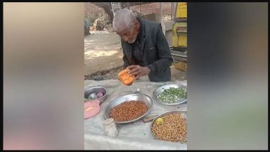 Video of Independent 98-Year-Old up Man Selling Chana to Continue Working Goes Viral! Honoured by the District Administration With Cash