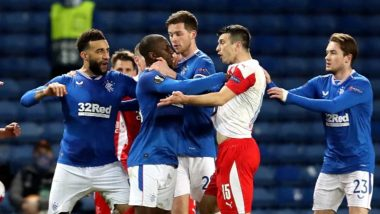 Steven Gerrard Consoles Glen Kamara After Allegedly Being Abused Racially by Ondrej Kudela During Rangers vs Slavia Prague (Watch Video)