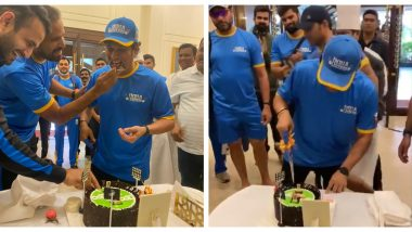 Sachin Tendulkar Celebrates 9th Anniversary of 100th International Century by Cutting a Cake With Yuvraj Singh, Irfan Pathan, Pragyan Ojha & Other Members of India Legends (Watch Video)