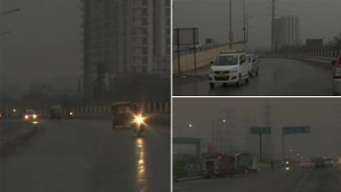 Delhi-NCR Rains: National Capital Wakes Up to Dark Skies, Thunderstorm and Rainfall (Watch Video)
