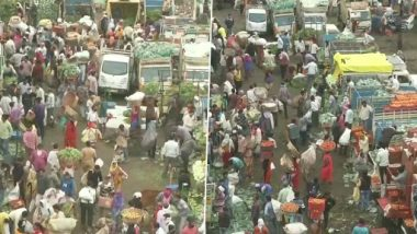 Maharashtra: Despite Rising COVID-19 Cases, Massive Crowd Seen at Cotton Market in Nagpur Ahead of Lockdown; Social Distancing Goes for a Toss (See Pics)