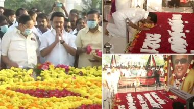 DMK President MK Stalin Pays Floral Tribute to His Father & Former CM M Karunanidhi on His Birthday Today