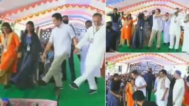 Rahul Gandhi Takes Push-Up Challenge, Dances With Students of St Joseph's Matriculation School in Mulagumoodu During His Visit to Poll-Bound Tamil Nadu (Watch Video)