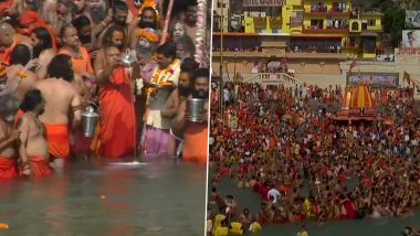 Kumbh 2021: Sadhus Take Holy Dip in Ganga During Shahi Snan at Hari Ki Pauri in Haridwar (Watch Video & Pictures)