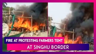 Fire At Protesting Farmers Site: Two Tents, Car Gutted Allegedly By Miscreants At Singhu Border, No Casualties